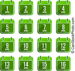 April vector flat calendar icons. Days Of Year Set 13