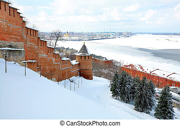 April view to port Nizhny Novgorod Russia