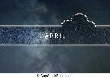 APRIL word cloud Concept. Space background.