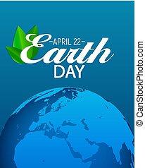 aprile, 22, giorno terra, fondo, vettore, illustrazione