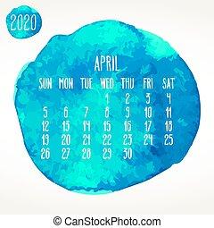 aprile, calendario, mensile, acquarello, 2020, anno, vernice