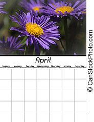 aprile, calendario, vuoto