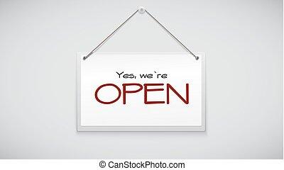 aprire segno, asse, appendere, il, bianco, wall., vettore, illustrazione