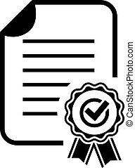 aprobación, certificado, icono
