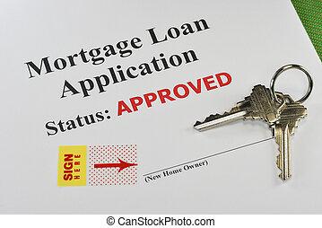 aprobado, bienes raíces, préstamo de hipoteca, documento, listo, para, firma