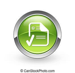 aprobado, -, documento, verde, botón