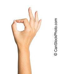 aprobar, aislado, mano, plano de fondo, blanco, señal