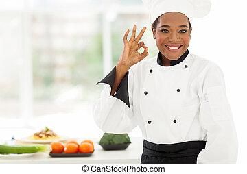 aprobar, dar, hotel, joven, señal, chef, africano, cocina