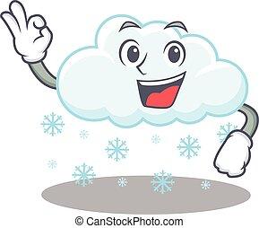aprobar, diseño, dedo, nube, mascota, gesto, estilo, nevoso