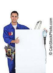 aprobar, electricista, joven, señal, elaboración, panel