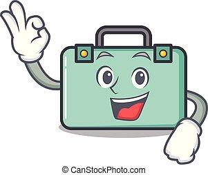 aprobar, estilo, carácter, caricatura, maleta