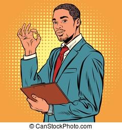 aprobar, gesto, negro, hombre de negocios