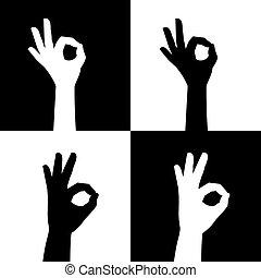 aprobar, manos, silueta, señal, iconos