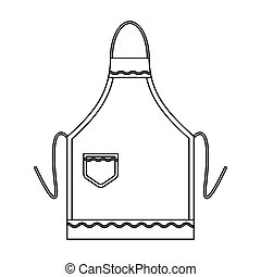 Apron icon in outline style isolated on white background. Kitchen symbol stock vector illustration.