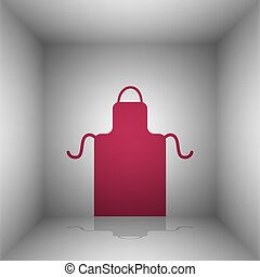 Apron simple sign. Bordo icon with shadow in the room.