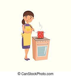 apron, vrouw, het koken, keuken, jonge, huisvrouw, ongedwongen, housework, vector, illustratie, activiteit, kleding, spotprent
