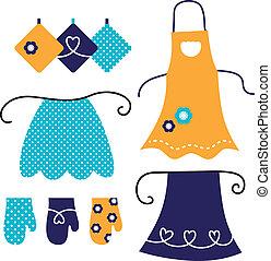 apron, witte , set, vrijstaand, retro
