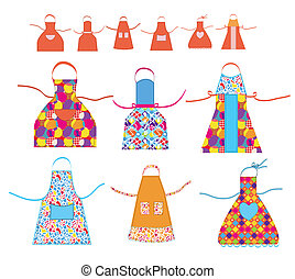 Aprons cooking set with patterns illustration
