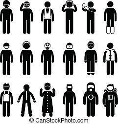 apropiado, traje de seguridad, uniforme, uso