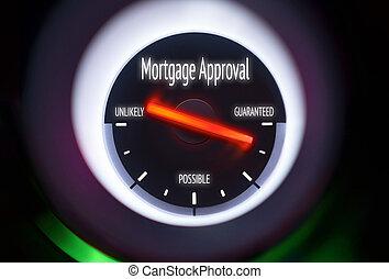 aprovação, empréstimo, conceito, hipoteca