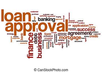 aprovação, empréstimo, palavra, nuvem