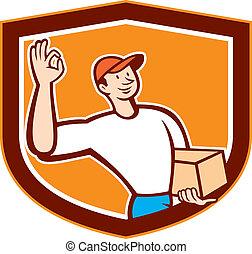 aprovação, escudo, sinal, entrega, caricatura, homem