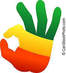 aprovação, mão humana, gesto, sinal