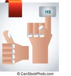 aprovação, mão