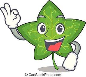 aprovação, personagem, hera, folha verde, caricatura
