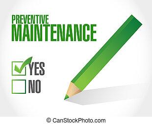 aprovação, preventivo, conceito, manutenção, sinal