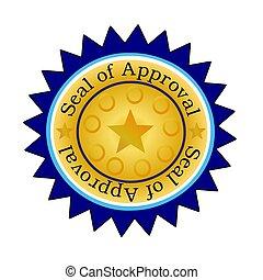 aprovação, selo, w/blue, edging