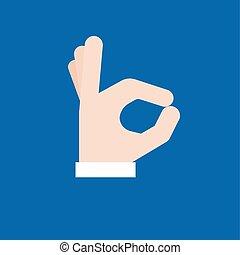 aprovação, sinal mão, ícone