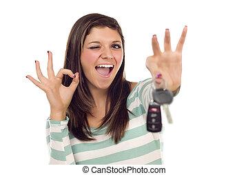 aprovação, teclas, car, mão, femininas, étnico, branca, sinal