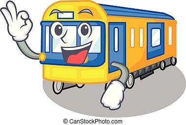 aprovação, trem metrô, brinquedos, forma, mascote