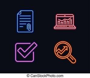 aprovado, prender, sinal., checkbox, analytics, icons., statistics., teia, anexo, carrapato, arquivo