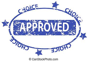 Aprover grunge blue office stamp