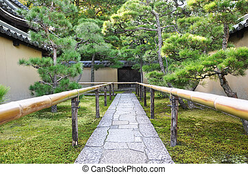 aproximação, estrada, para, a, templo, koto-in, um, sub-temple, de, daitoku-ji