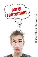 aproximadamente, aposentadoria, jovem, cedo, pensa, homem