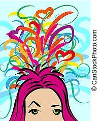 aproximadamente, coloridos, caótico, ideas., algo, vetorial, menina, pensamentos