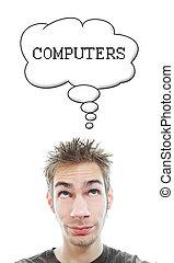 aproximadamente, computadores, pensa, homem, jovem