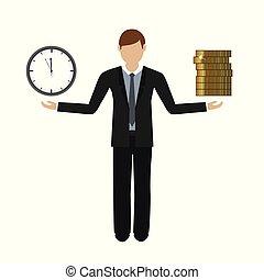 aproximadamente, conceito, negócio, dinheiro, personagem, tempo, homem
