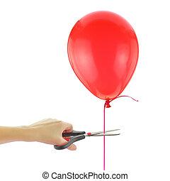 aproximadamente, corte, balloon, solto, isolado, tesouras,...