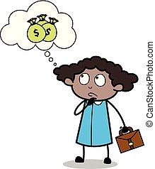 aproximadamente, escritório, pensando, dinheiro, -, ilustração, vetorial, pretas, retro, menina, caricatura