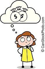 aproximadamente, escritório, pensando, dinheiro, -, ilustração, vetorial, retro, empregado, menina, caricatura