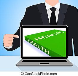aproximadamente, estilo vida, saudável, laptop, livros, saúde, livro, mostra