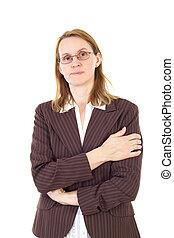 aproximadamente, gerência, pensando, solução, mulher, sério
