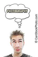 aproximadamente, homem, fotografia, pensa, jovem