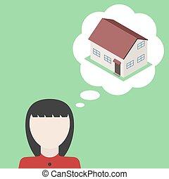 aproximadamente, illustration., house., vetorial, sonho, homem