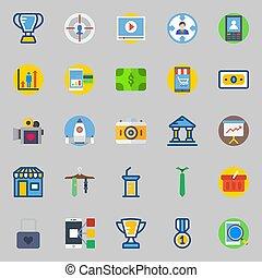 aproximadamente, jogo, marketing., laço, ícones, foto, startup, alvo, lucros, câmera, digital, míssil