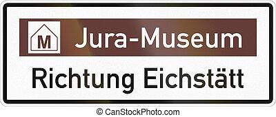 aproximadamente, jurassic, alemão, eichstaett, museu, sinal direção, estrada